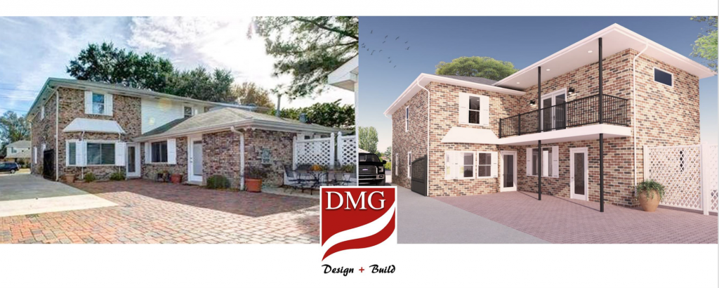 Before and after photo showing benefits of design build.