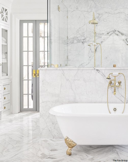 Bathroom countertop marble linear verticle