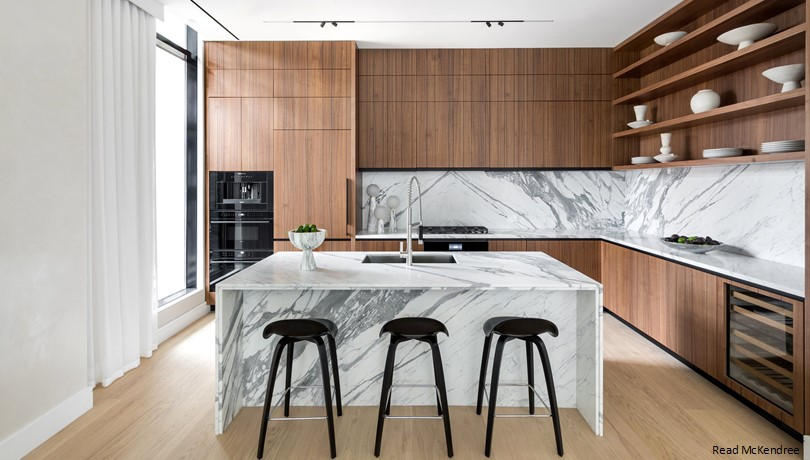 countertop marble kitchen backsplash waterfall